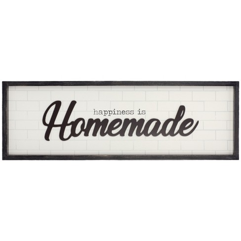 """12""""x36"""" Happiness is Homemade Rustic Wood Framed Wall Art White - Patton Wall Decor - image 1 of 4"""