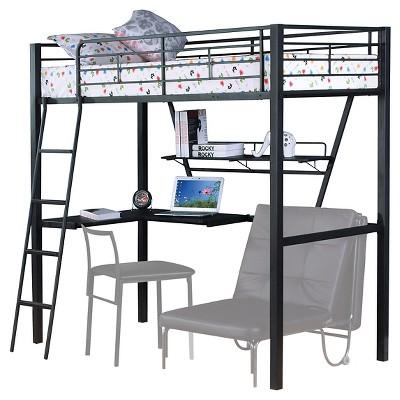 45e40c598610 Senon Kids Loft Bed With Desk - Silver And Black(Twin) - Acme : Target