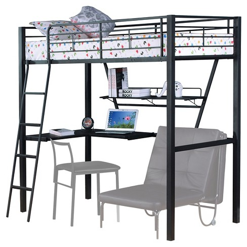 Surprising Senon Kids Loft Bed With Desk Silver And Black Twin Acme Home Interior And Landscaping Ponolsignezvosmurscom