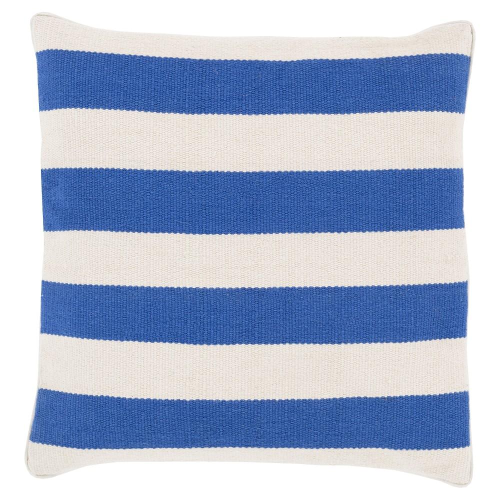Cobalt (Blue) Horizontal Stripes Stripe Throw Pillow 18