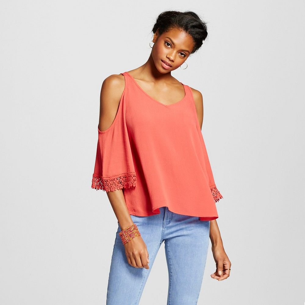 Women's Bell-Sleeve Cold Shoulder Top - Xhilaration Black, Size: XL, Terracotta Pink