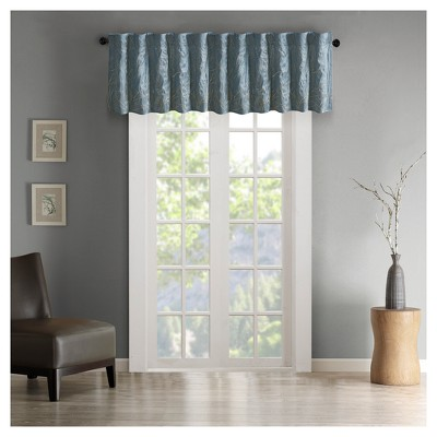 """18""""x50"""" Faux Silk Blackout Embroidered Window Valance - Aden"""
