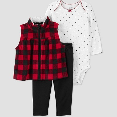 Baby Girls' Buffalo Vest Top & Bottom Set - Just One You® made by carter's Red 6M