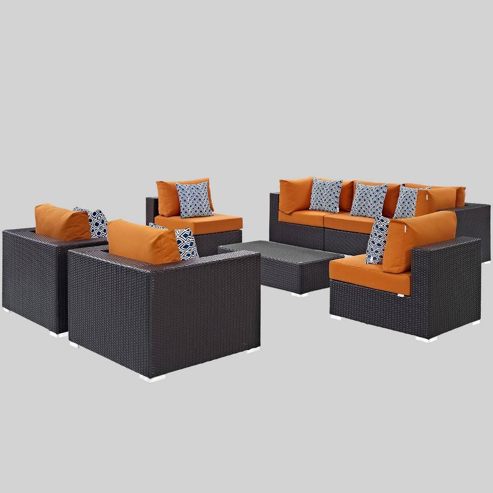 Convene 8pc Outdoor Patio Sectional Set - Orange - Modway