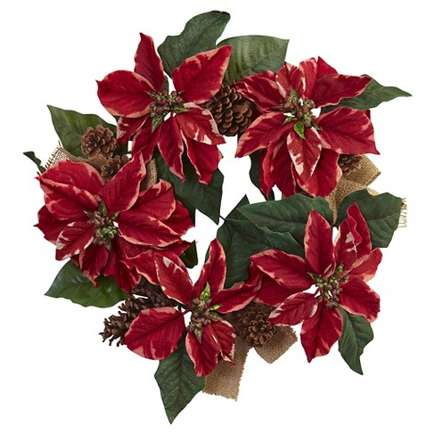 "Poinsettia, Pine Cone and Burlap Wreath - Red (22"") - image 1 of 1"