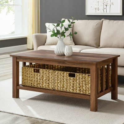Ethan Mission Coffee Table with Woven Baskets Reclaimed Barnwood - Saracina Home