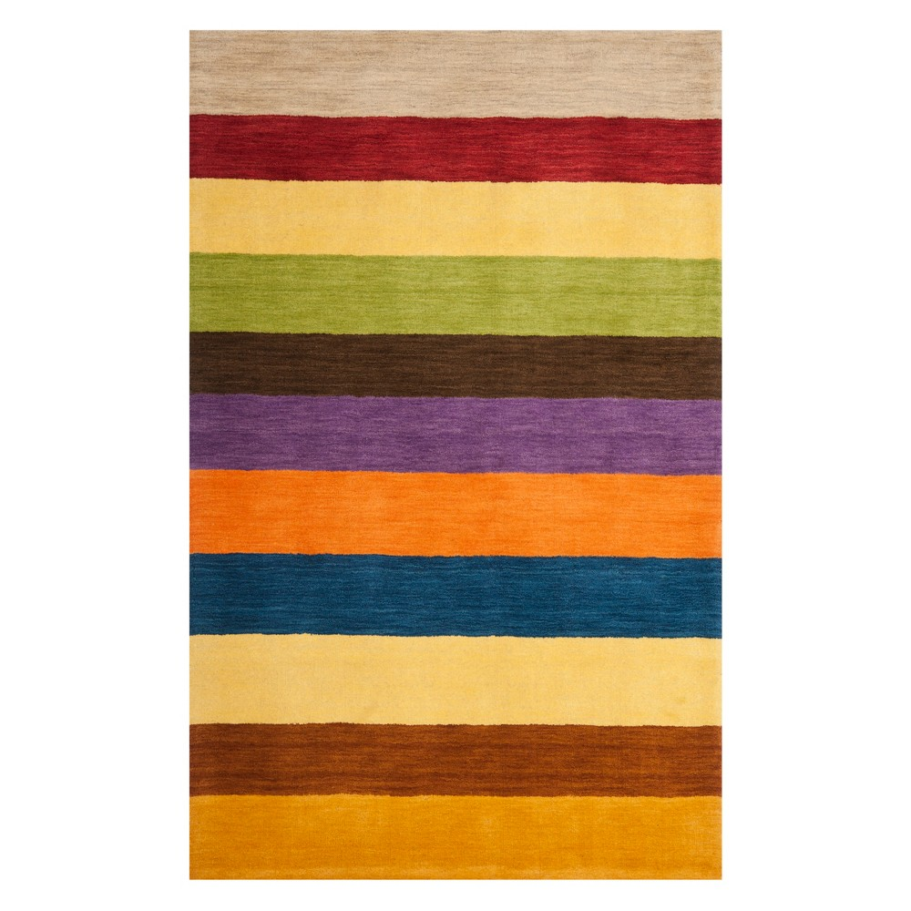 5'X8' Stripe Loomed Area Rug Yellow - Safavieh