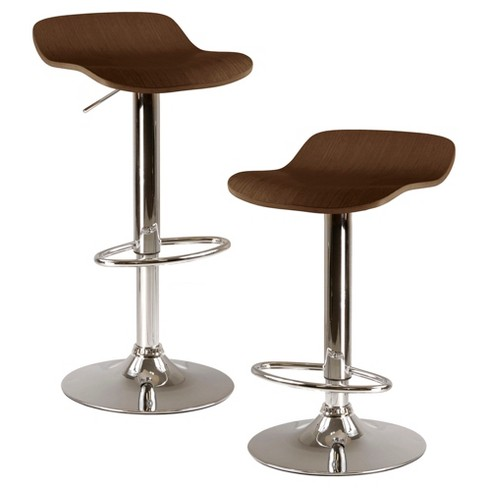 Kallie Set of 2 Air Lift Adjustable Stool, Cappuccino Wood Veneer Top and Metal Base - Cappuccino, Metal - Winsome - image 1 of 2