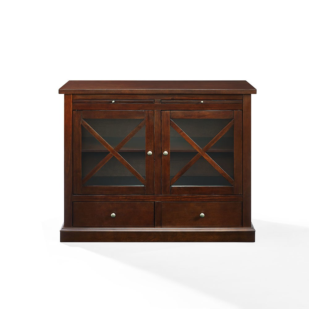 Crosley Furniture CF6121-MA Jackson Accent Cabinet with Glass Doors, Mahogany