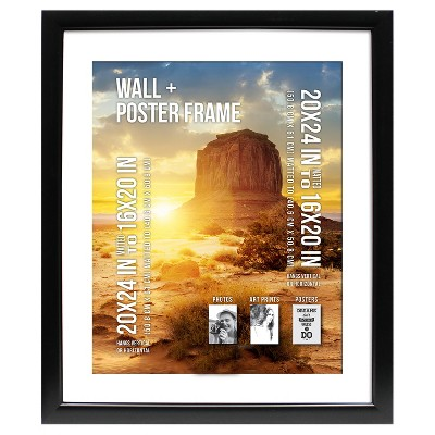 Poster Frame 1.5  Profile - Black - (20 x24  Matted to 16 x20 )