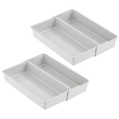 mDesign Expandable Kitchen Cabinet Drawer Organizer Tray