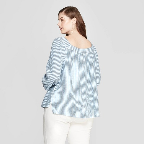 180897ab2ad797 Women's Plus Size Striped Long Sleeve Square Neck Top - Universal Thread™  Blue