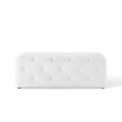 "48"" Amour Tufted Button Entryway Faux Leather Bench White - Modway"
