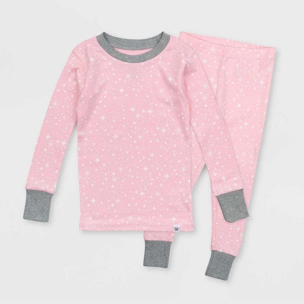 Honest Baby Toddler Star Print Tight Fit Pajama Set Pink 4t