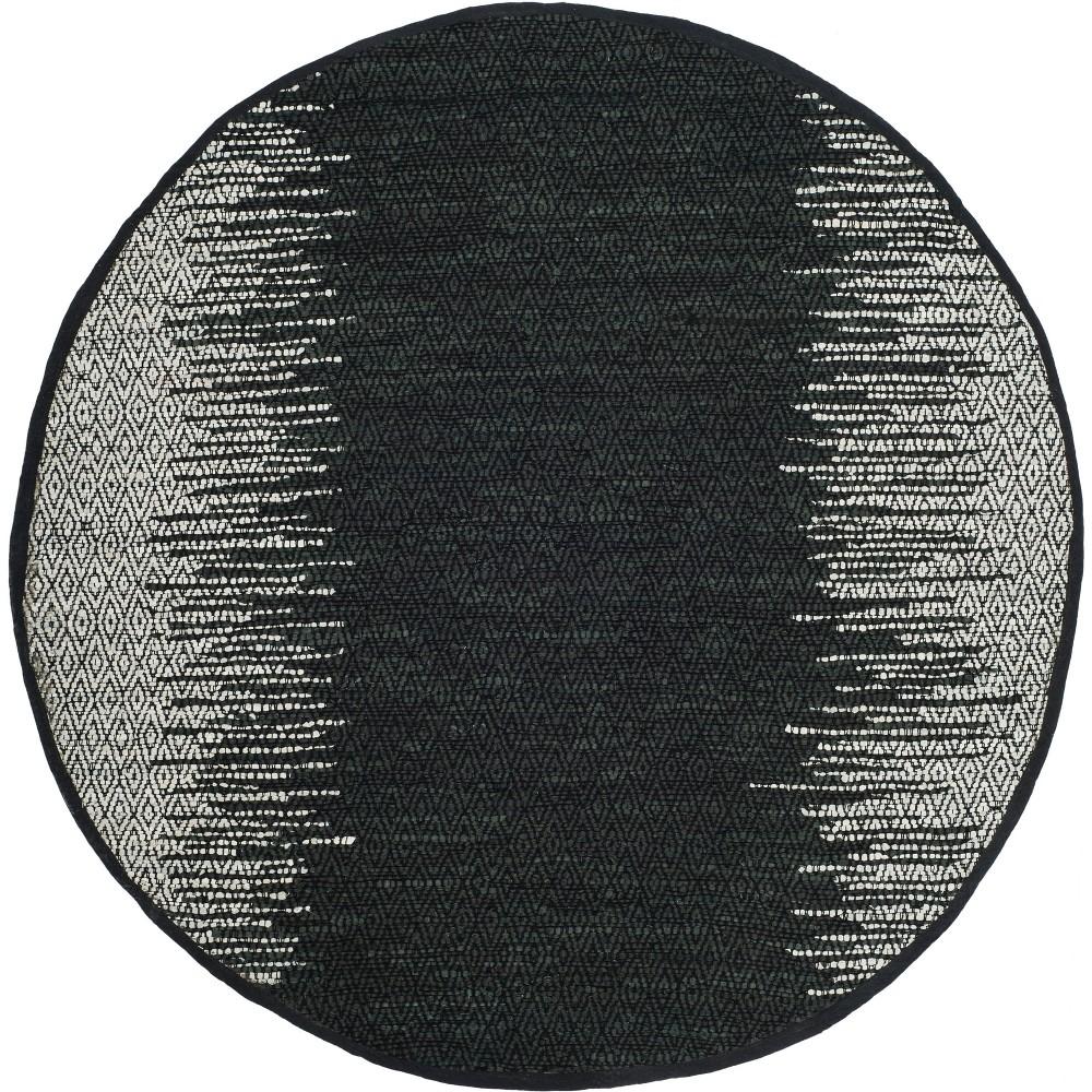 6 Geometric Woven Round Area Rug Light Gray/Black - Safavieh Discounts