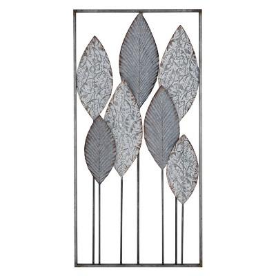 "18"" x 36"" Rectangular Metal Leaf Wall Art Silver - Olivia & May"