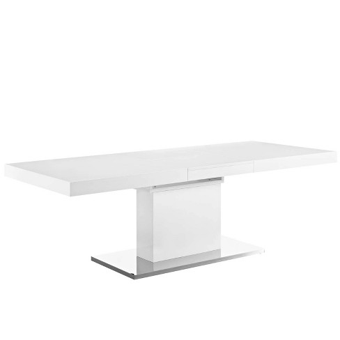 Vector Expandable Dining Table White Silver - Modway - image 1 of 4