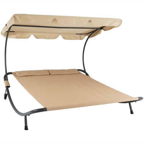 Fine Double Chaise Lounge Bed With Canopy And Headrest Pillow Beige Sunnydaze Decor Pabps2019 Chair Design Images Pabps2019Com