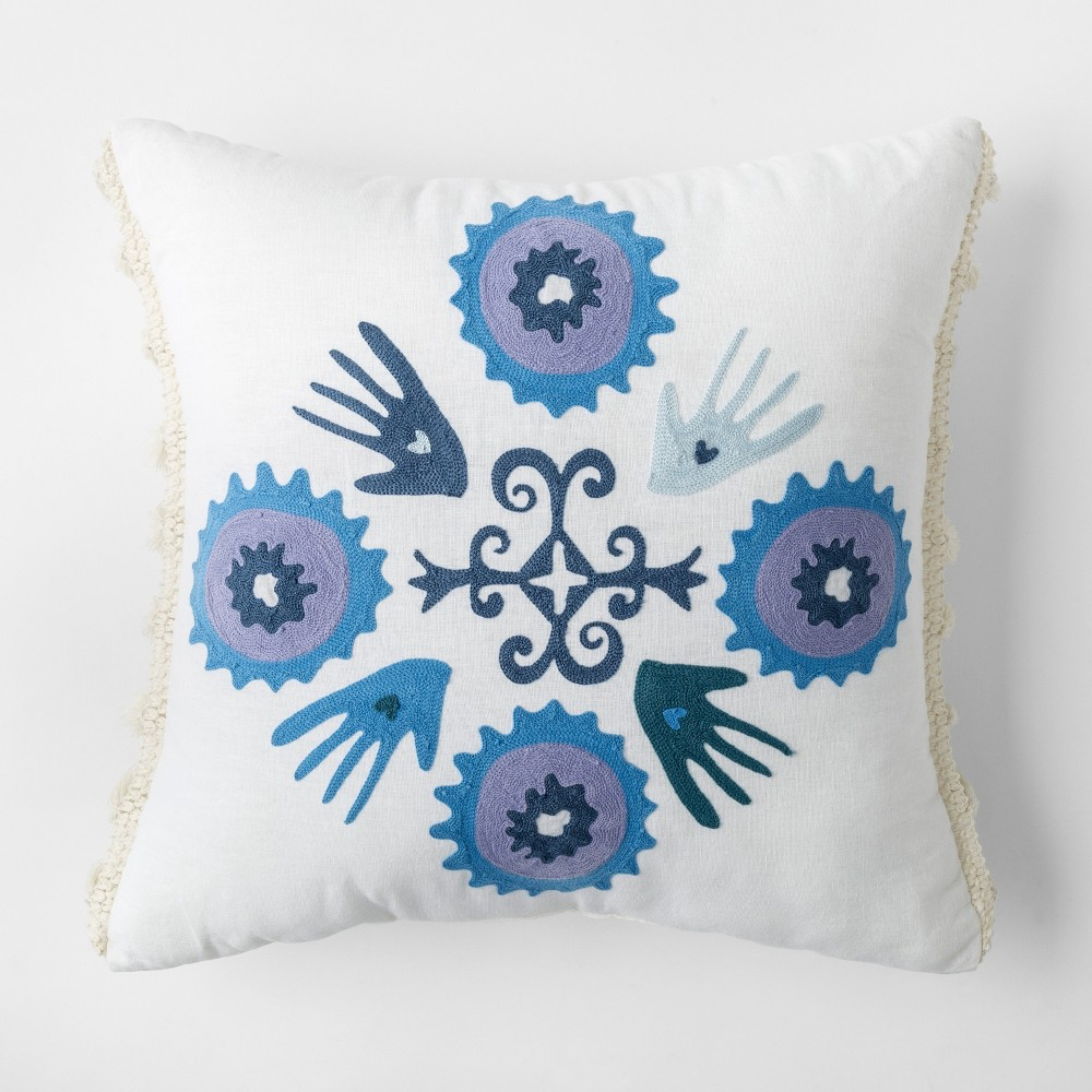 Image of Blue Heart in Hand Square Throw Pillow - Justina Blakeney for Makers Collective