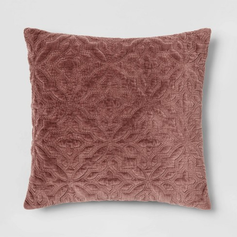 Square Embroidered Velvet Throw Pillow Mauve - Threshold™ - image 1 of 3