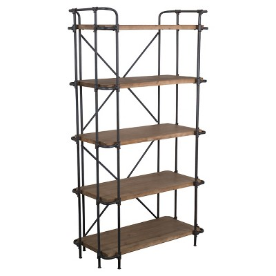 Yorktown 66.75  5-Shelf Industrial Bookcase Brown - Christopher Knight Home