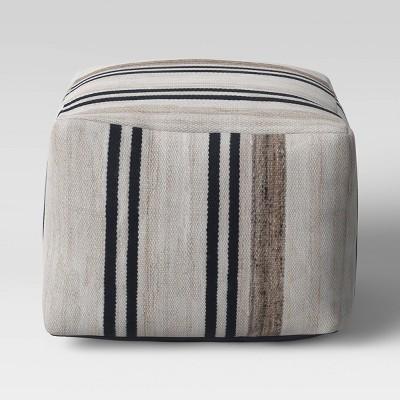 Cube Style Pouf Marled Stripe - Threshold™ designed with Studio McGee
