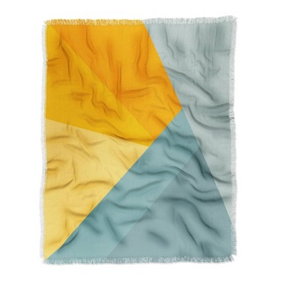 "50""x60"" June Journal Sunset Triangle Color Block Woven Throw Blanket Orange - Deny Designs"