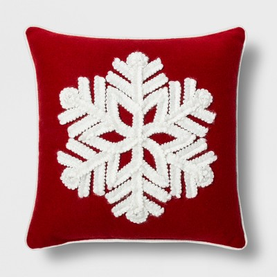 Snowflake Square Throw Pillow Red - Threshold™