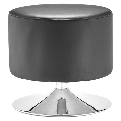 Amazing Modern Faux Leather And Chrome Ottoman Zm Home Pabps2019 Chair Design Images Pabps2019Com