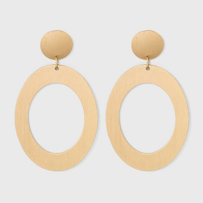 Circle Stud and Open Oval Drop Earrings - Universal Thread™ Gold
