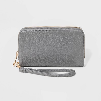 Women's Zip Wallet Wristlet - A New Day™ Gray