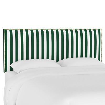 Queen Wingback Headboard Canopy Stripe Emerald - Skyline Furniture