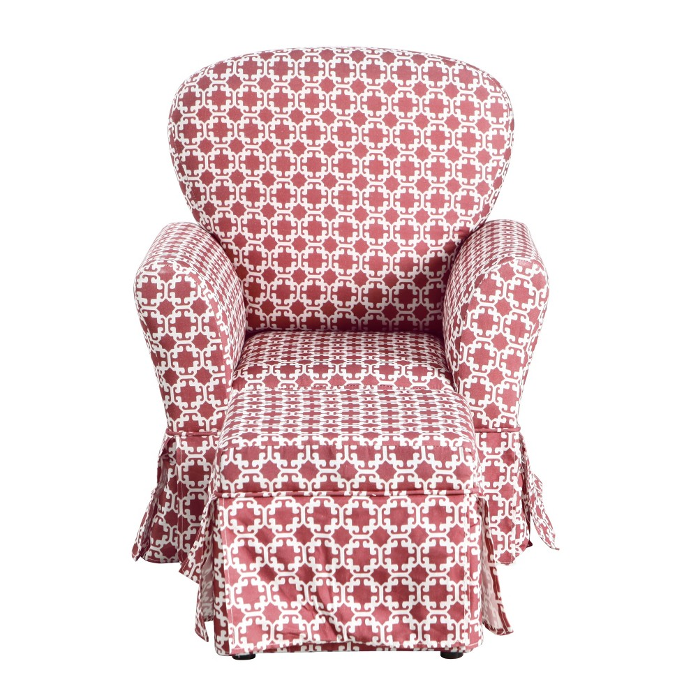 Kids Chair and Ottoman Set Pink/White Lattice - HomePop was $319.99 now $239.99 (25.0% off)
