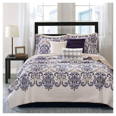 Cascade Scroll Quilted Coverlet Set - 6 Piece