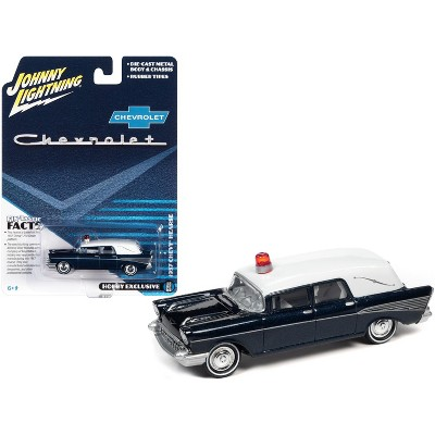 1957 Chevrolet Hearse Metisse Blue Metallic with White Top 1/64 Diecast Model Car by Johnny Lightning