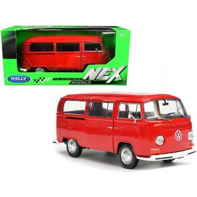 1972 Volkswagen T2 Bus Van Red 1/24 Diecast Model by Welly