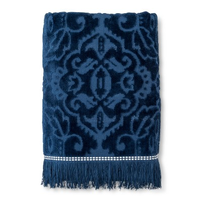 Sheared Medallion with Fringe Bath Towel Graphite Blue - Threshold™