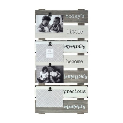 Precious Memories Plank Collage Photo Display with Linen Metal Clips Gray - Prinz