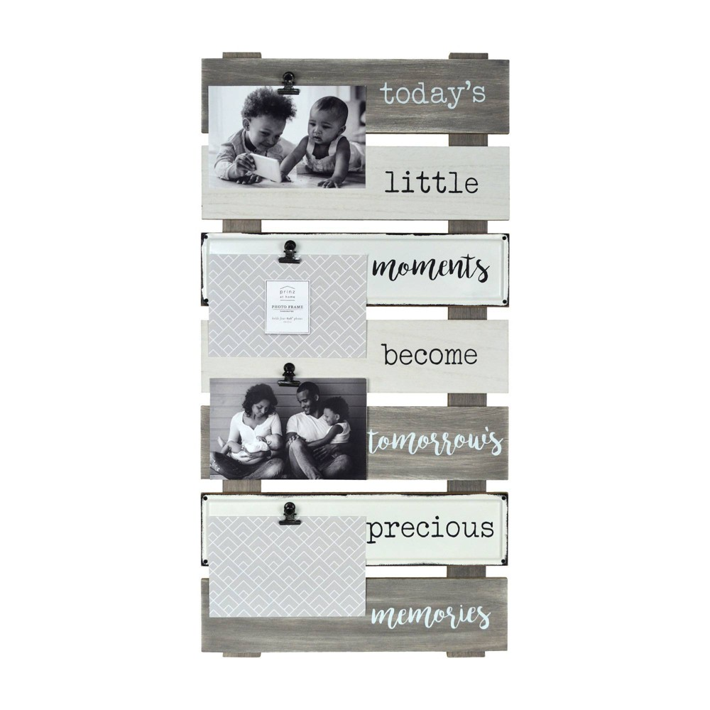 Image of Precious Memories Plank Collage Photo Display with Linen Metal Clips Gray - Prinz
