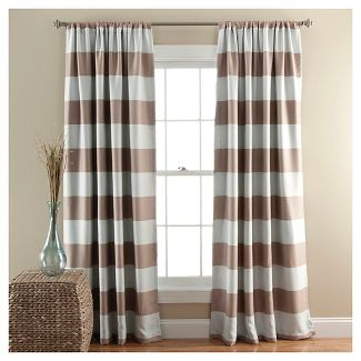 "52""x84"" Striped Room Darkening Window Curtain Panels Taupe Brown - Lush Decor"
