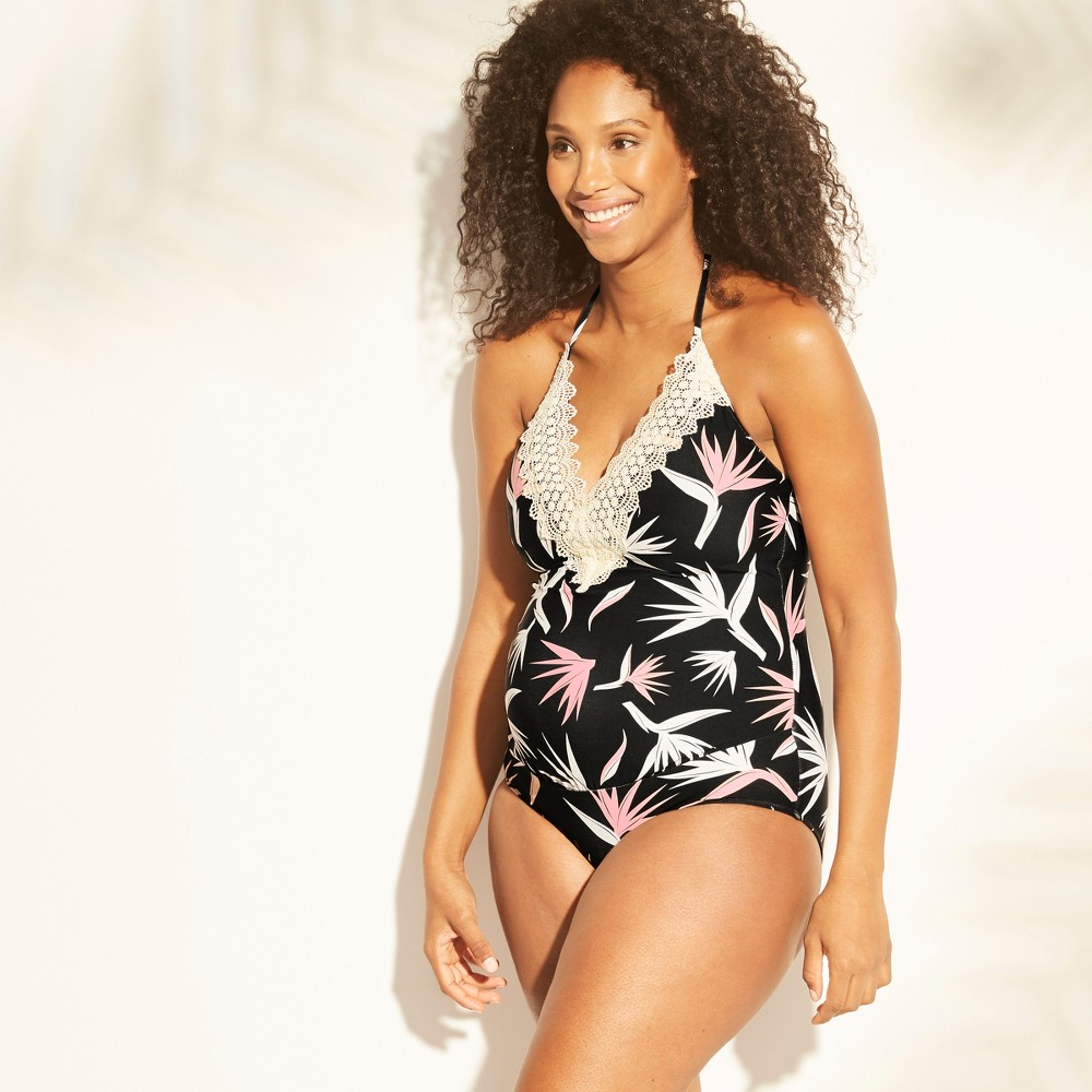 Maternity Floral Print Lace One Piece Swimsuit - Sea Angel - Birds of Paradise XL, Women's, Black