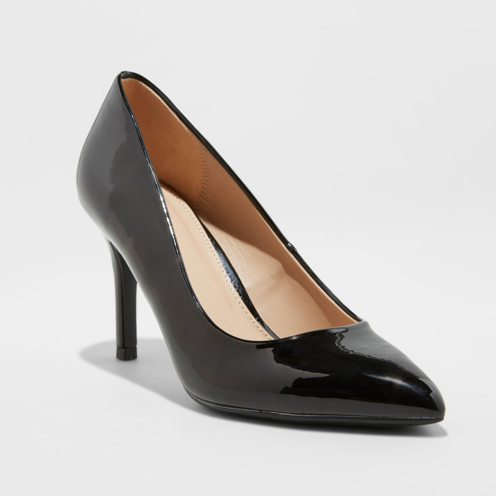 Women's Gemma Satin Patent Pointed Toe Pump Heel - A New Day Black 6