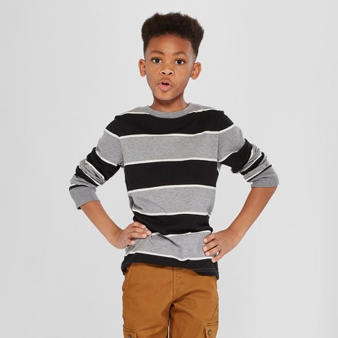Boys' Long Sleeve Stripe T-Shirt - Cat & Jack™ Gray S - image 1 of 3
