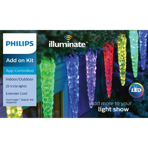 philips 25ct christmas led illuminate add on lights molded icicles white wire