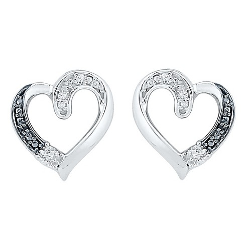 0.030 CT. T.W. Round-Cut Black and White Diamond Heart Prong Set Earring in Sterling Silver (IJ-I2-I3) - image 1 of 1