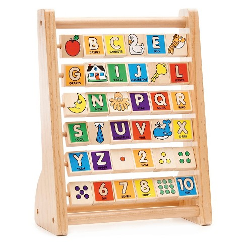 melissa doug abc 123 abacus classic wooden educational toy with 36 letter and number tiles