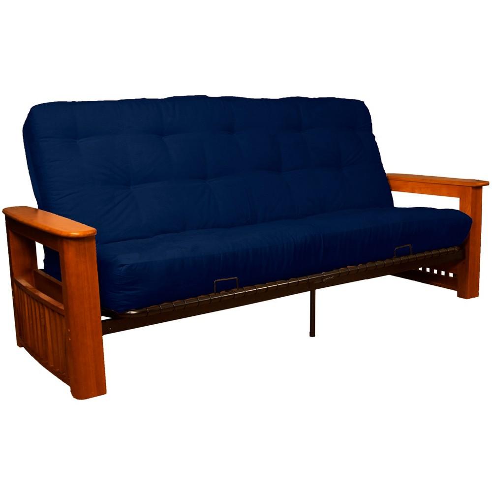 Flip Top Arm 8 Cotton/Foam Futon Sofa Sleeper Walnut Wood Finish Dark Blue - Epic Furnishings