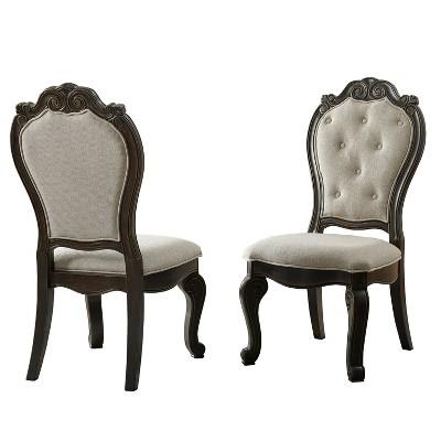 "Set of 2 18"" Rhapsody Upholstered Side Chairs Dark Brown - Steve Silver Co."