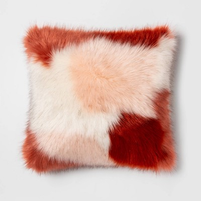 Square Color Block Faux Fur Throw Pillow Burgundy/Pink - Opalhouse™