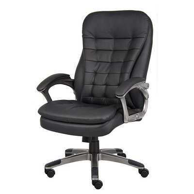 High Back Executive Chair with Pewter Finished Base/Arms Black - Boss Office Products